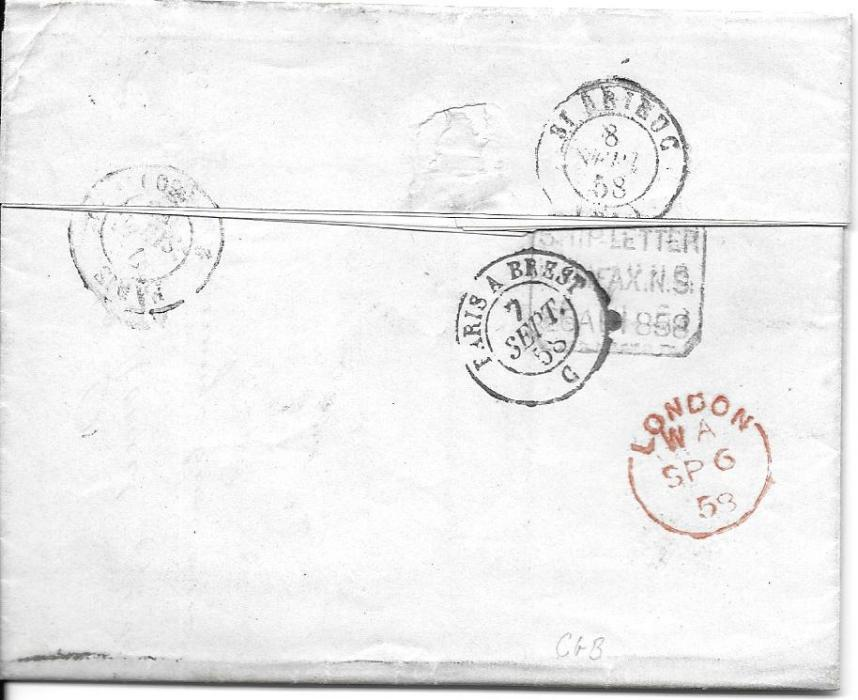"Canada (Newfoundland) 1858 entire datelined ""Petites"" to France bearing accountancy handstamp '2f62c', rating handstamps on front as well as French entry cds, reverse with framed SHIP LETTER/ HALIFAX N.S. datestamp, red London transit and internal French cancels; fine and clean condition."