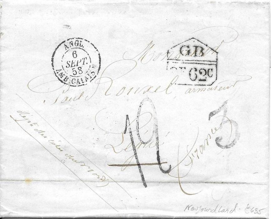 Canada (Newfoundland) 1858 entire datelined �Petites� to France bearing accountancy handstamp �2f62c�, rating handstamps on front as well as French entry cds, reverse with framed SHIP LETTER/ HALIFAX N.S. datestamp, red London transit and internal French cancels; fine and clean condition.