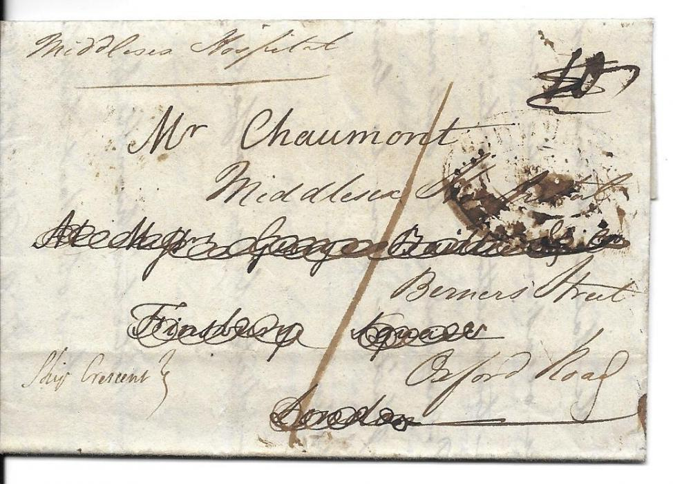 Canada Two entires from the Bishop of Quebec, both to London, the first from 1800, redirected on arrival, the second from 1802, a duplicate entire. The first with virtually full red wax seal, Ship Letter Quebec oval �crown� handstamps.