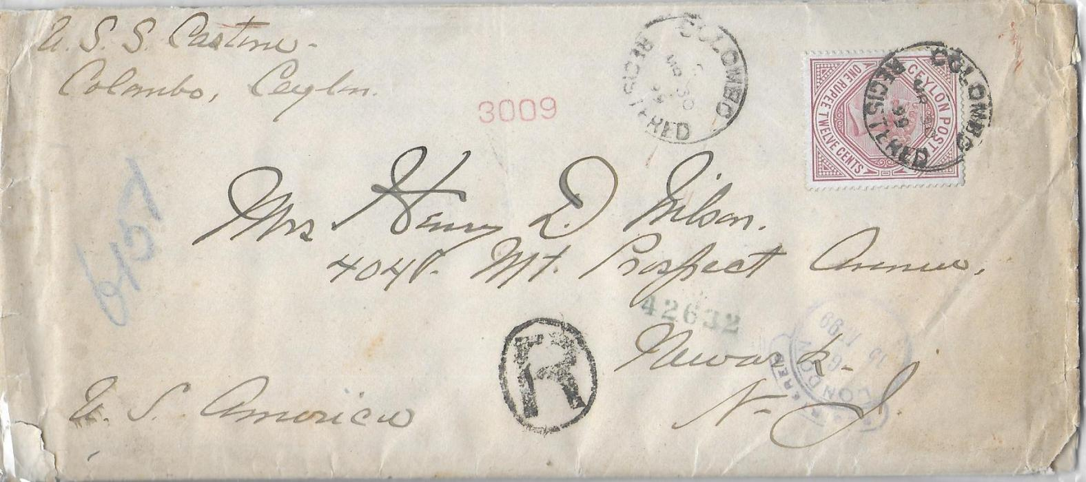 Ceylon 1899 thock, long cover with contents to New York bearing single franking 1r.12c. tied Colombo cds, London transit at base and arrival backstamp; a scarce single franking.685