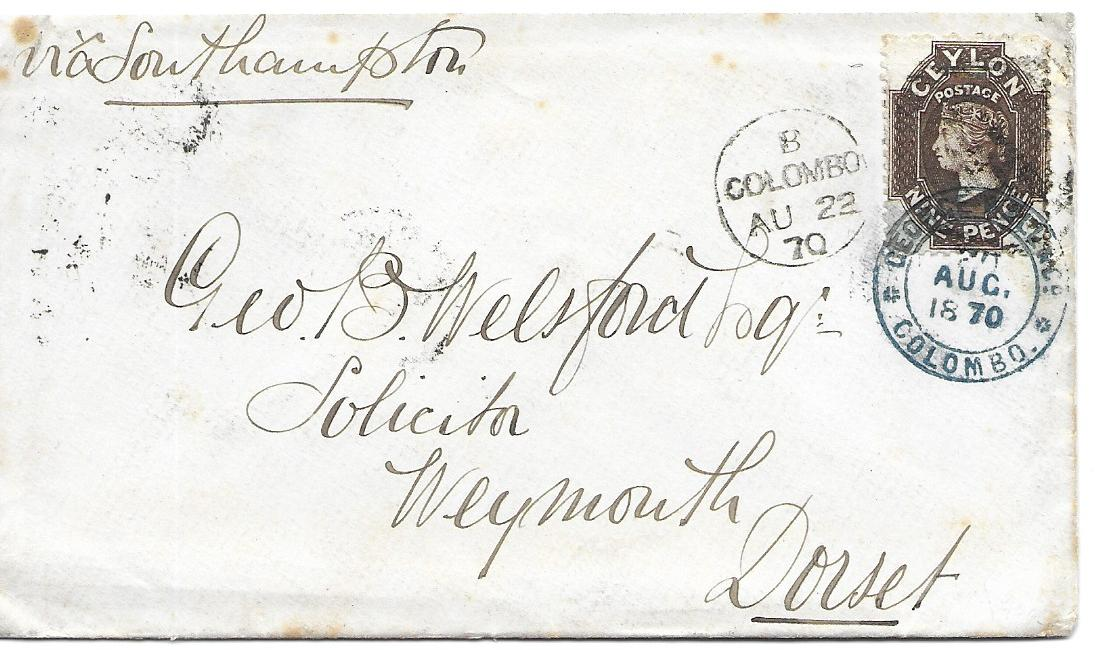 Ceylon 1870 (AU 22) cover to Weymouth bearing single franking Chalon 9d. (SG 69b) tied Colombo duplex and by double-ring blue company handstamp, arrival backstamp. with RPS Certificate. Ex Hackmey.795