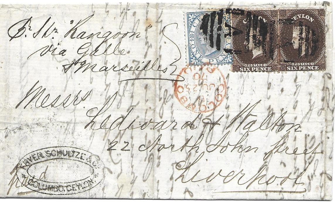 "Ceylon 1870 entire to Liverpool, endorsed ""Pr Str Rangoon/ via Galle/ & Marseilles"" franked two 6d. and a 1d. cancelled by A obliterators, Colombo Paid cds tying the 1d., arrival backstamp; vertical filing creases otherwise fine and attractive."
