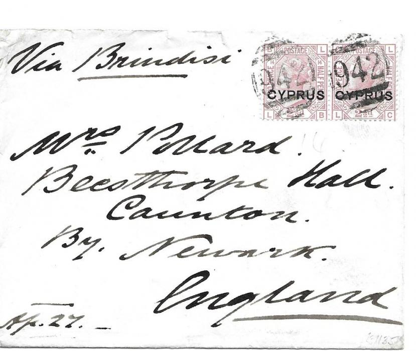 Cyprus 1880 cover to England franked Great Britain overprinted 2 �d. pair, LB-LC, plate 14 cancelled with �942� numerals of Larnaca, Newark arrival backstamp. Part of backflap missing, clean fresh condition.
