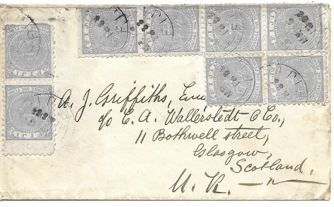 Fiji 1888 March cover to Glasgow at the 8d rate with franking of �VR� perf 10 1d. pair and irregular block of six, arrival backstamp. Some slight faults, Ex Milo Rowell.