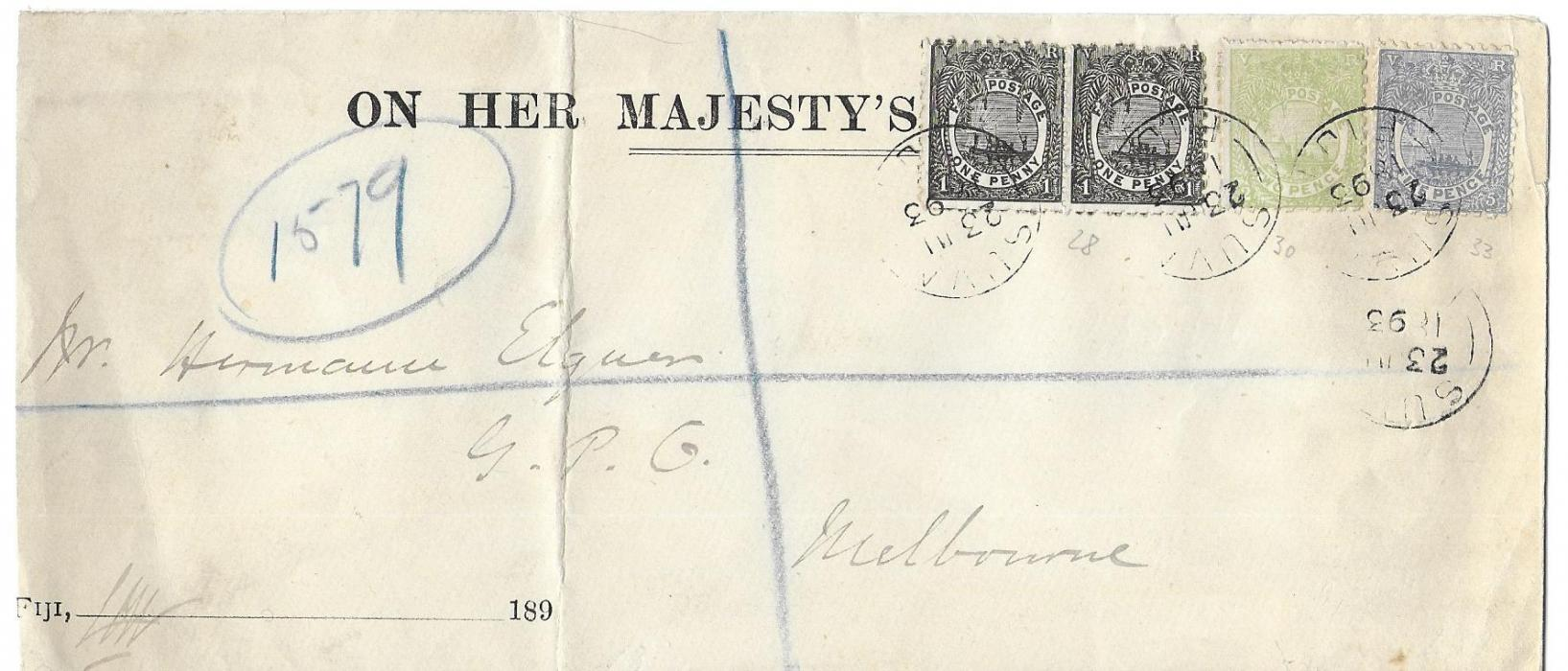 Fiji 1893 (23 JU)  long registered OHMS cover to Melbourne, Australia, franked �Native Canoe� perf 11x10 1d. pair, 2d. and 5d. tied Suva cds, arrival backstamp; vertical filing crease to left, fresh condition.