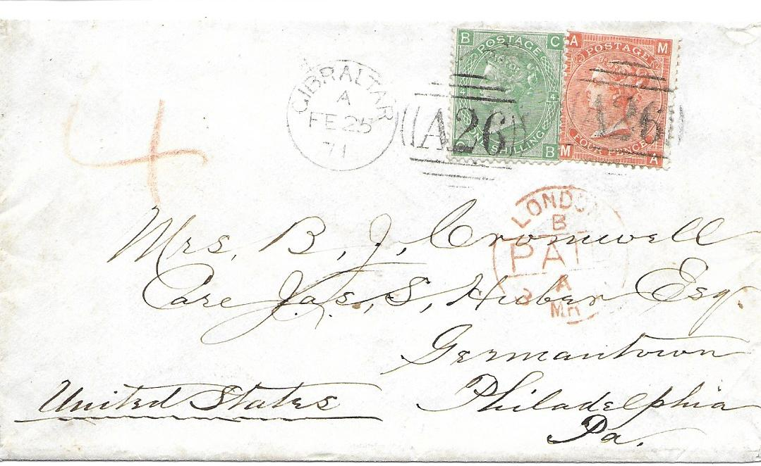 "Gibraltar 1871 (FE 25) cover to Philadelphia franked Great Britain 4d. vermilion, MA, plate 12 and 1s. green, CB, plate 4, neatly cancelled 'A26' duplex with red London, rated ""4"" and with arrival backstamp. A fine and scarce double rate cover."