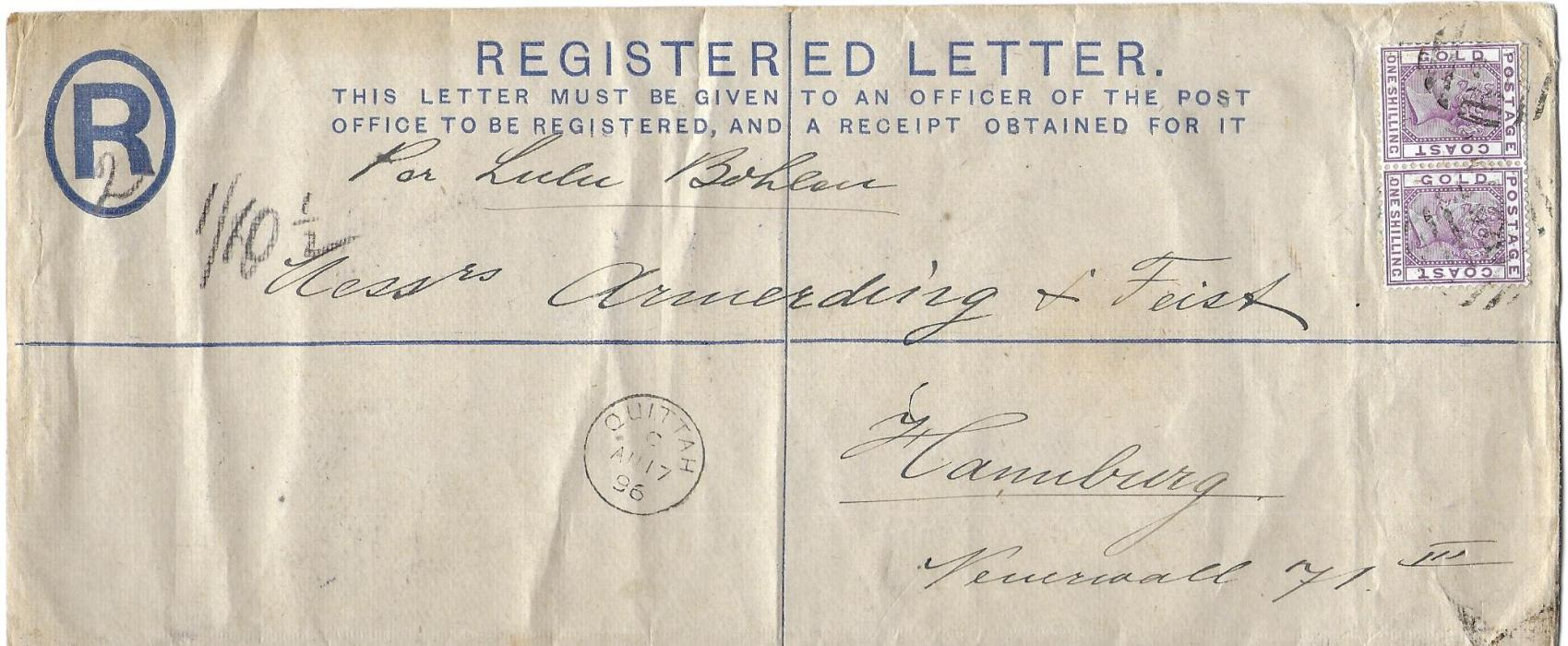Gold Coast 1896 2d. registered postal stationery envelope, size H2, to Hamburg uprated with pair 1s. tied numeral obliterators, Quittah cds in association at left, arrival backstamp; a rare stationery size used commercially and not folded.