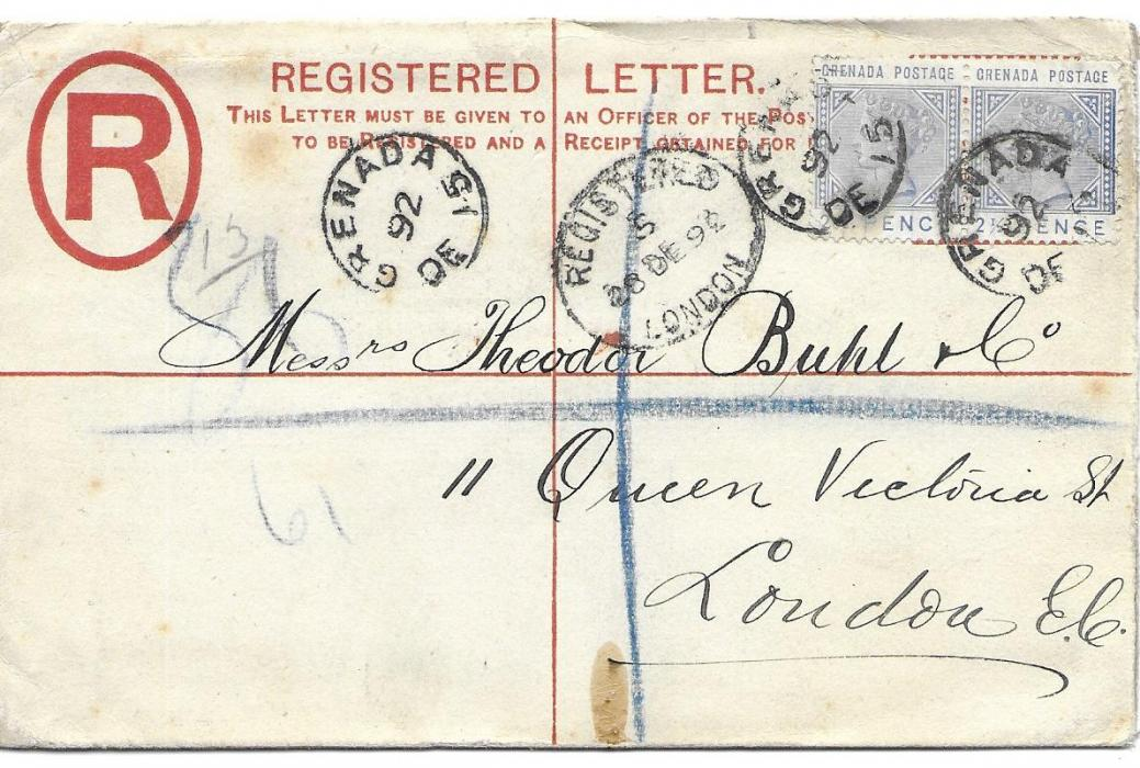 Grenada 1892 2d. registration envelope, size G, DE La Rue under flap, to London uprated pair 2 �d. tied Grenada cds, arrival on front.
