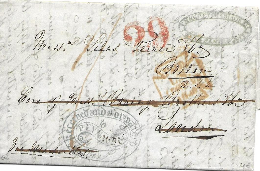 "Malta 1848 entire from Zante to Boston, United States endorsed ""Via Marseilles"" without any clear indication of despatch except for commercial chop top right, addressed care of forwarding agents in London whose blue ornate handstamp appears at base, red PAID date stamp of London and red '29' US accountancy."