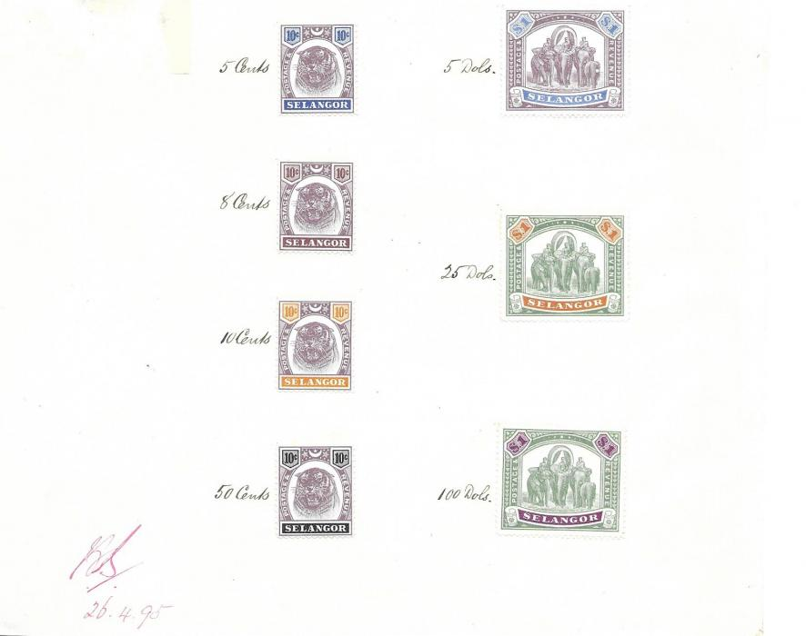 Malaya Selangor 1895 Appendix Native states sheet bearing perforated colour trials, each Tiger a 10c. value and Elephants $1 value. These colours were not approved. Appendox sheet severed for display purposes. A fine historic item.