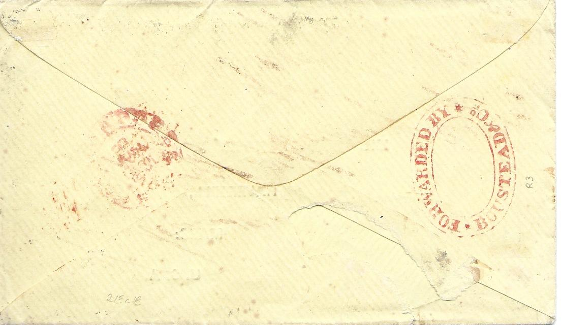 Malaya India used in Singapore: 1860s printed envelope to Haverhill, Mass., USA bearing four colour franking tied by a little unclear B/172 cancels, red London transit below, 5 N.York Am Pkt date stamp and cursive 16 cents accountancy,the reverse bearing good example of double oval FORWARDED BY BOUSTEAD & Co. and Singapore date stamp;tiny piece of backflap missing, fine and rare.