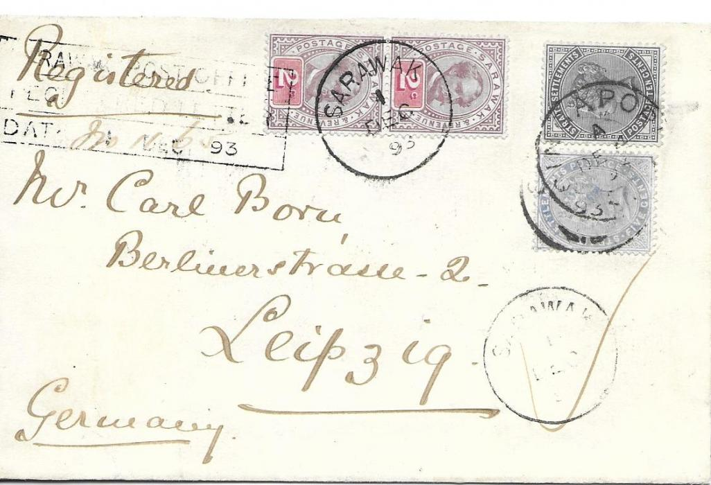 Sarawak 1893 registered combination cover to Germany franked Sir Charles Brooke 2c. pair tied Sarawak cds of 1 DE and Straits Settlements 5c. and 10c. tied Singapore cds, there is a further Sarawak cds at base and a somewhat unclear Sarawak Post Office/ Registered Letter/ Date 1 DE 93 handstamp at left, reverse with further Singapore cds and partial arrival cds. In extremely fresh condition, most attractive.