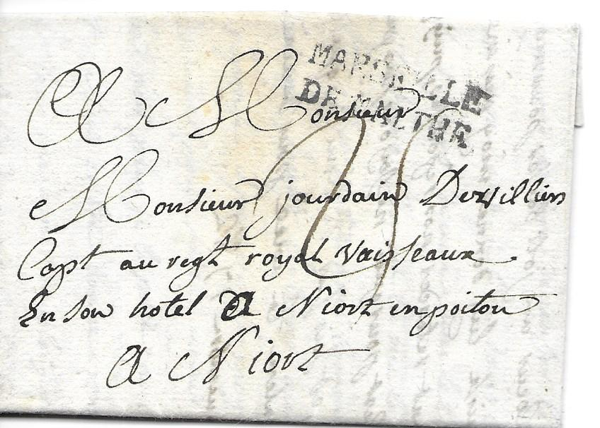 Malta 1782 entire to a Captain of the Royal Regiment residing in a hotel in Niort, France bearing a good example of the  combined handstamp �MARSEILLE/ DE MALTHE�, �25� manuscript charge.