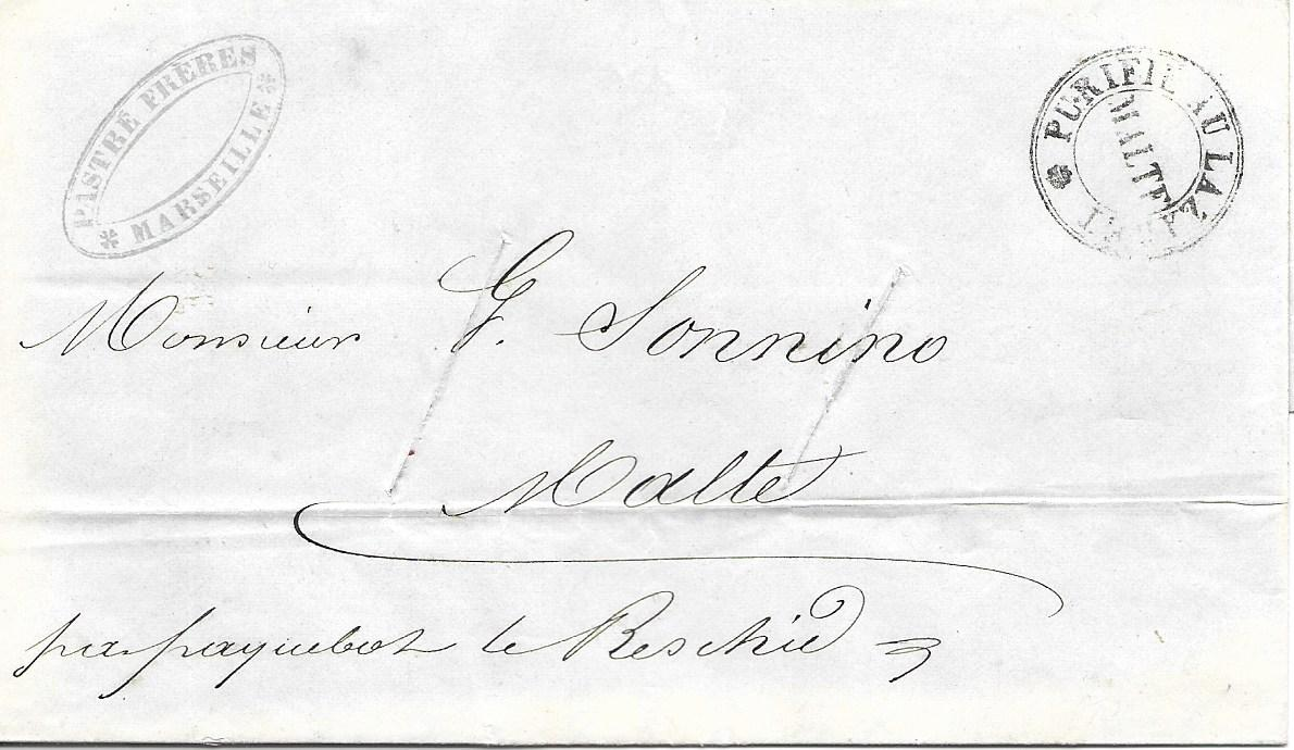 Malta (Disinfected Mail) 1844 entire from Marseille, endorsed �per paquebot le Beschid�, two  disinfection slits and good clear strike of Purifie Au Lazaret/ MALTE handstamp, reverse with straight-line �26 Aug 1 d� handstamp; fine and clean.