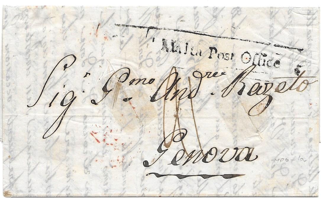 Malta 1841 entire to Genova bearing fine part framed straight-line MALTA POST OFFICE handstamp (50 x 4.5mm), with various rate markings, two disinfection slits, arrival backstamp.