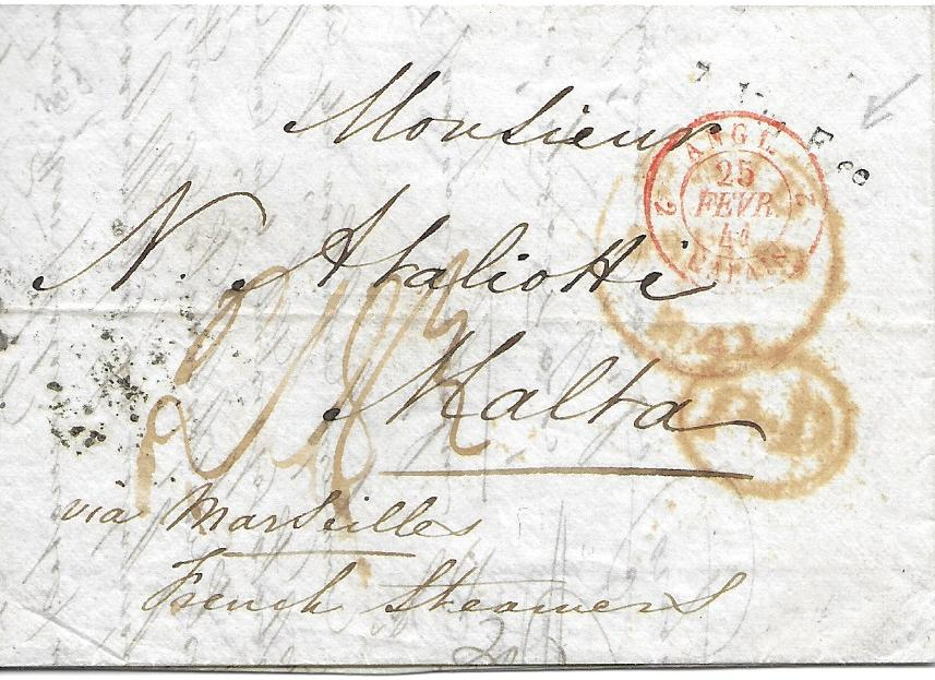 "Malta 1841 incoming entire from London,endorsed ""via Marseille"" with despatch cds and French entry cds,reverse with Marseille transit. The top right showing fair example of rare LocalPost 2 Mar Free applied on arrival."