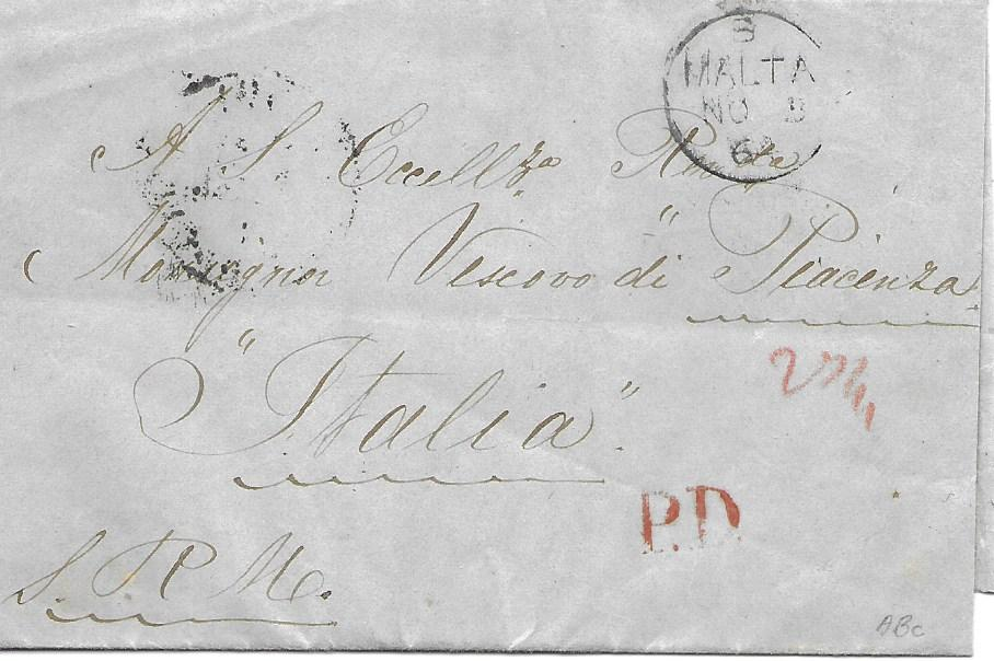 Malta 1864 outer letter sheet to Italy with despatch cds on front, unframed P.D., reverse with good example of �keyhole� Palermo-Malta Piroscafi Post Italiani., Messina and Genova transits.
