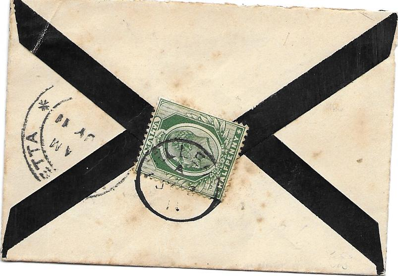Malta (Village Postmark) Small 1910s local mourning envelope franked on reverse ½d. tied Melleha cds.