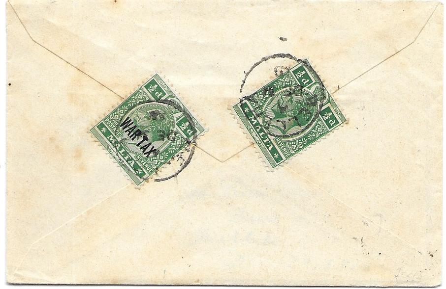 Malta (Village Postmark) 1918 local cover franked on reverse 1/2d. together with 12d. WarTax tied by Melleha cds, particularly fine on regular stamp.