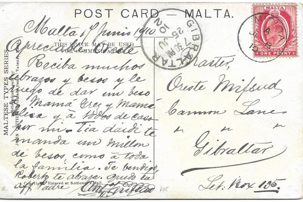 Malta (Village Postmark) 1910 picture postcard to Gibraltar franked with 1d. tied good strike of Misida cds, arrival cds to left.