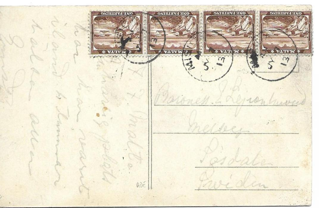 Malta (Village Postmark) 1913 picture postcard to Sweden franked by four Farthings tied by three Misida cds.