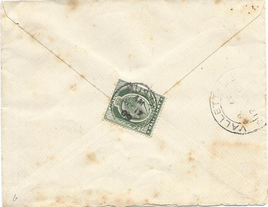 Malta (Village Postmark) 1909 local cover franked on reverse by 1/2d. tied by Musta cds, Valetta transit to side; some slight toning.