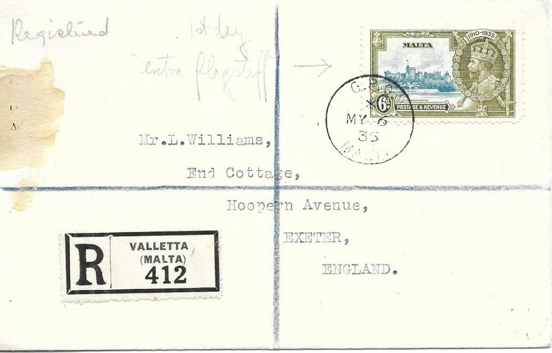 Malta  1935 (MY 6) registered cover to England franked 6d. Silver Jubilee, showing 'extra flagstaff' variety used on first day of issue; good condition.