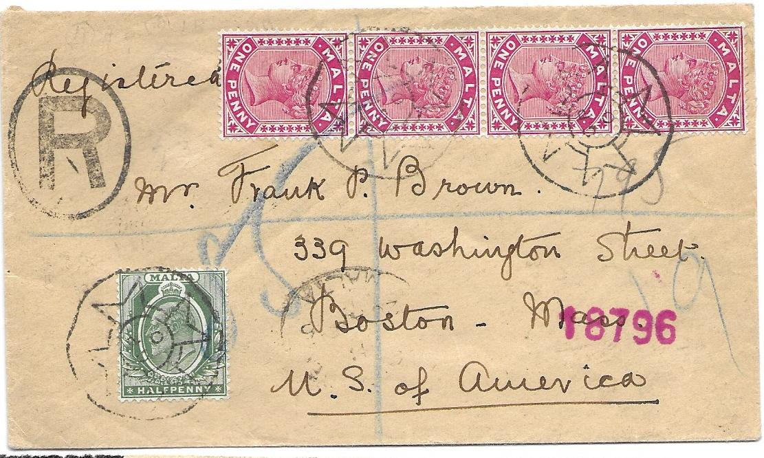 Malta 1906 registered cover to Boston, USA bearing mixed reign issues tied Maltese Cross datestamps, reverse with London transit and arrival cds; good condition.