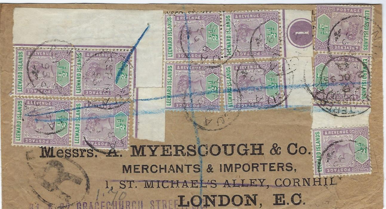 Antigua 1895 registered �Myerscough� cover to London franked front and back with fourteen 1/2d. Including a plate marginal tied Antigua cds, arrival cancel on front; envelope damaged at bottom right, opened-out for display.