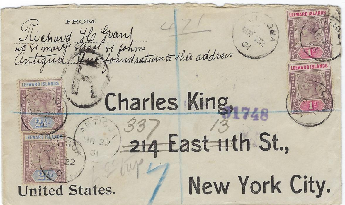 Antigua 1901 registered cover to New York franked 1/2d. (2) and 2 1/2d. (2) tied by small cds, arrival backstamps.
