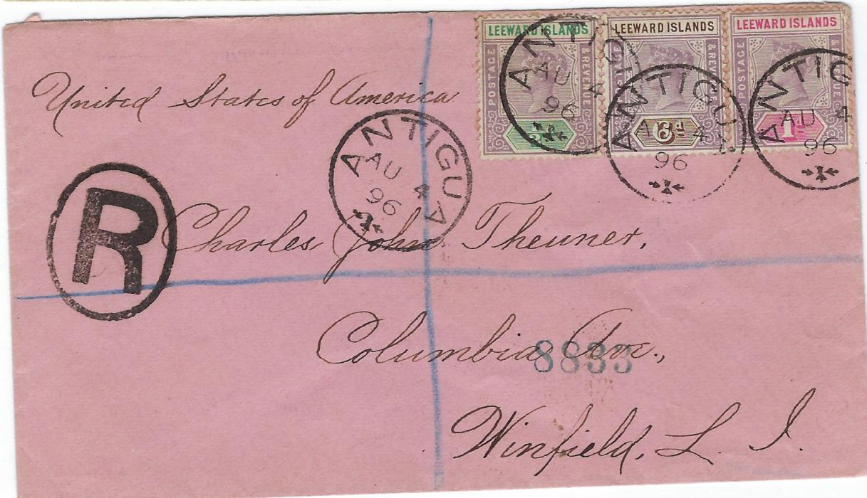 Antigua 1896 registered cover to United States bearing three value franking of 1/2d., 1d. and 6d. tied by clear small cds, oval-framed R handstamp at left, New York transit on reverse