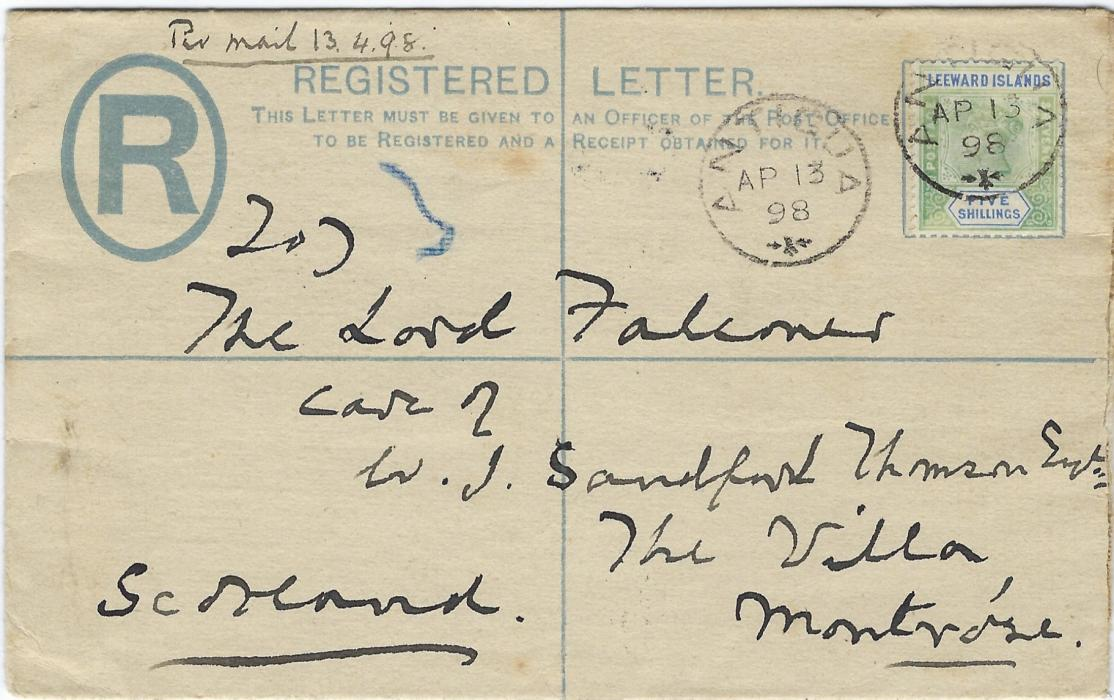 Antigua 1898 (AP 13)  registered 2d stationery envelope to Scotland bearing single franking Five shillings tied small cds, reverse with Birmingham transit and Montrose arrival cds. The stamp a little faded, rare on any type of cover.