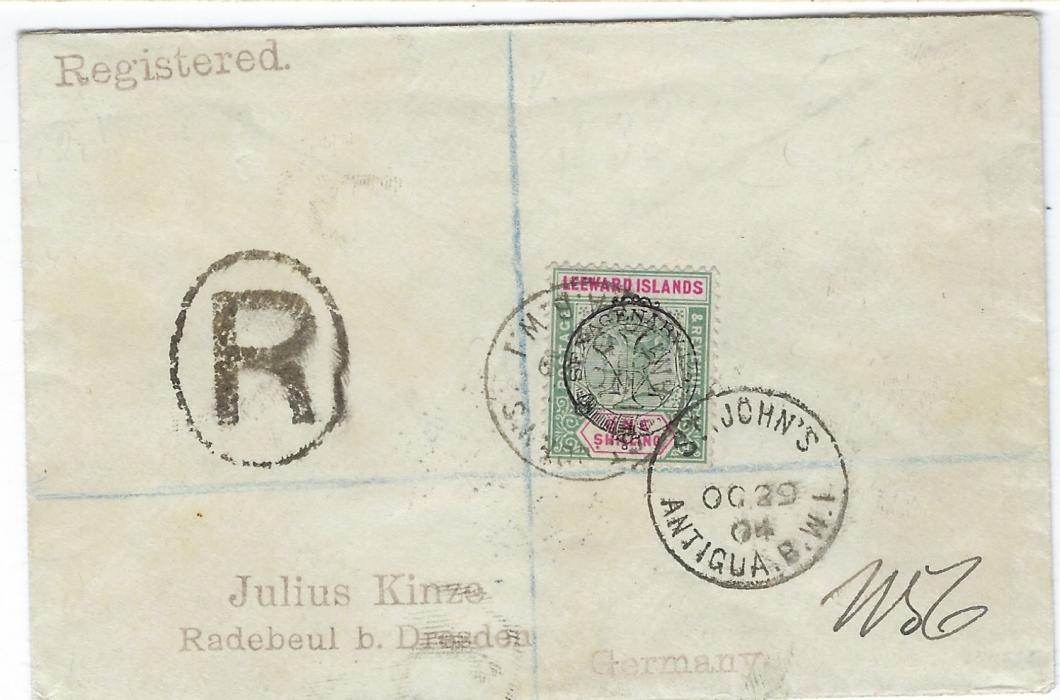 Antigua 1904 (OC 29) registered �Kinze� cover to Germany bearing single franking Queen Victoria�s Diamond Jubilee overprinted 5s tied St John�s cds, reverse with London transit and arrival cds. A rare stamp in good colour.