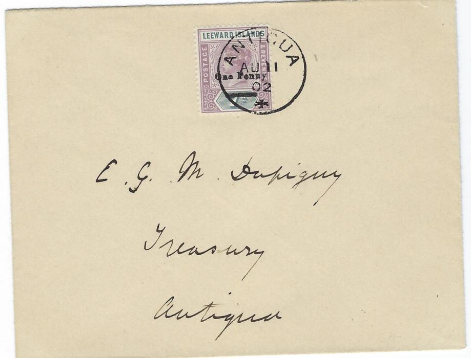 Antigua 1902 (AU 11) local cover franked �One Penny� on 7d. tied neat cds of first day of issue; fine condition