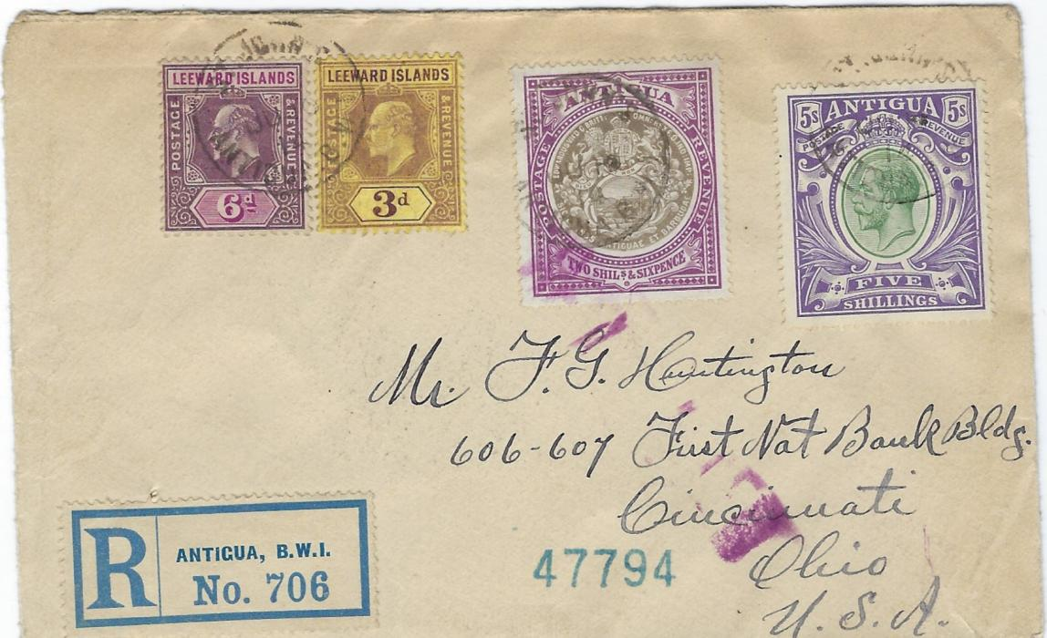 Antigua 1914 registered cover to Cincinnati, Ohio franked Leeward Islands 1907-11 3d. and 6d. together with Antigua 1903-07 2s.6d. and 1913 5s. with St John�s despatch cds, reverse with New York transit and arrival cancels; the 5s. a rare stamp even on philatelic mail.