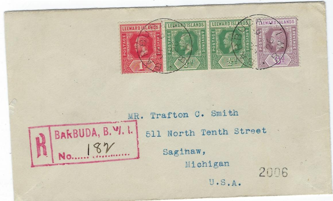 Barbuda 1926 (JY 6) registered cover to USA franked with unoverprinted Leeward Islands 1/2d. pair, 1d. and 6d. tied by two Barbuda B.W.I. cds, fine red registration handstamp at left, reverse with St John�s and New York transits and Saginaw, Mich. arrival cds; fine condition.