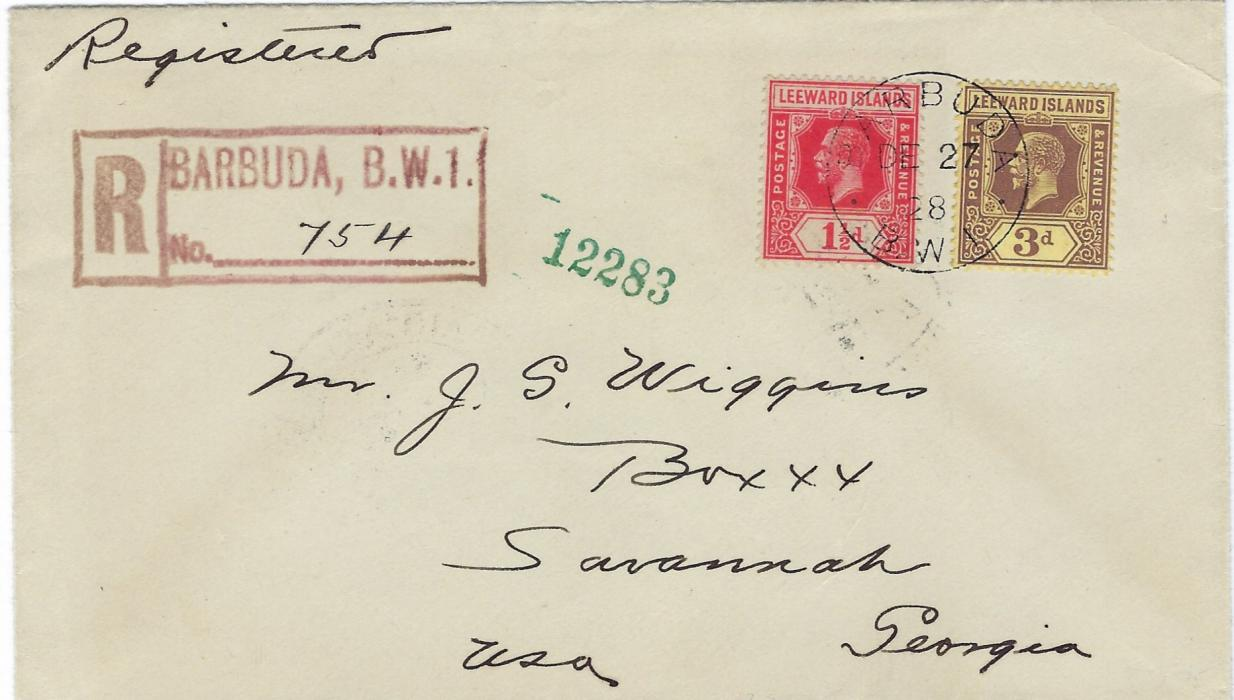 Antigua Barbuda: 1928 (DE 27) registered cover to United States  franked with unoverprinted Leeward Islands 1 1/2d. and 3d.  tied by single cds, red registration handstamp at left, reverse with St John�s and New York transits and arrival cancels; fine and fresh