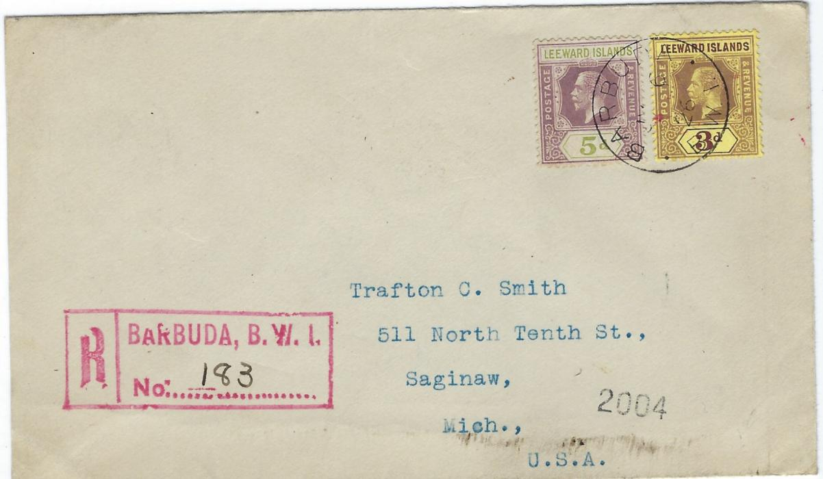 Antigua Barbuda 1926 (JY 6) registered cover to United States  franked with unoverprinted Leeward Islands 5d. and 3d.  tied by single cds, red registration handstamp at left, reverse with St John�s and New York transits and arrival cancels; small red mark on 3d.