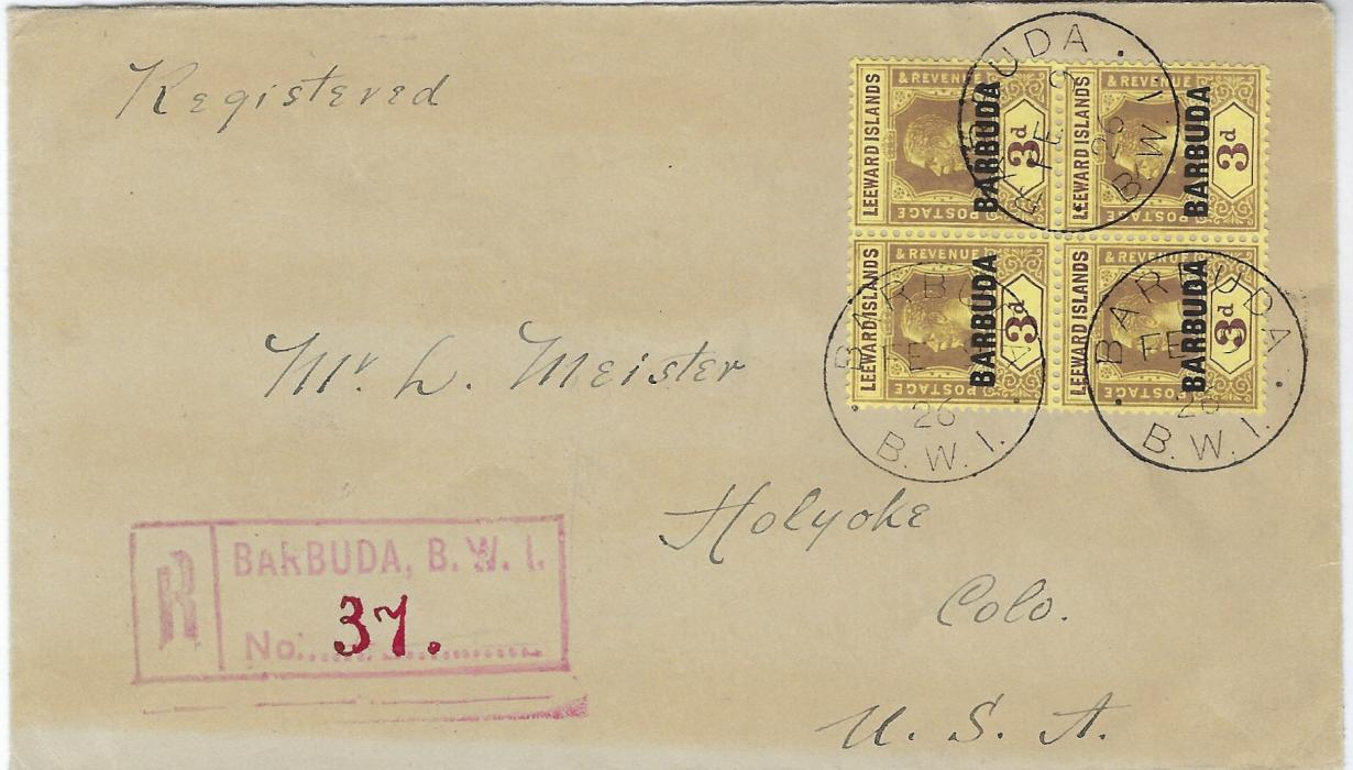 Antigua Barbuda 1926 (FE 9) registered cover to United States franked by block of four overprinted Leeward Islands 3d. tied three cds, red registration at left, St John�s and New York transits; light overall paper toning, a scarce multiple