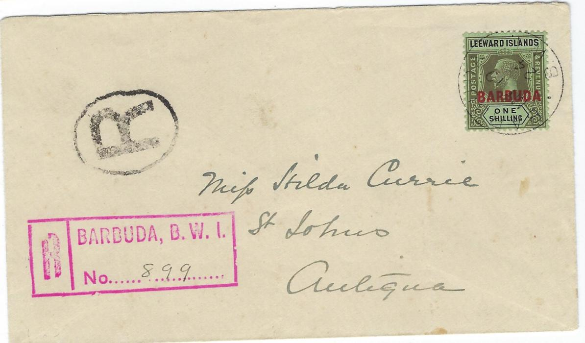 Antigua Barbuda 1924 (MY: 19) registered internal franked by overprinted Leeward Islands 1s. tied by cds, black and red registrations at left, some slight light creasing, no backstamps.
