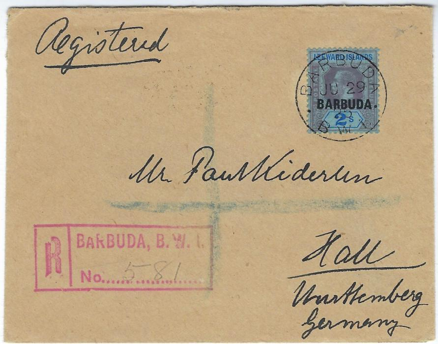 Antigua Barbuda 1925 (JU 29) registered �Kinderlin� cover to Hall, Wurttemberg, Germany bearing single franking overprinted Leeward Islands 2s. tied by cds,  red registration at left, reverse with St John�s transit and pictorial arrival cds.
