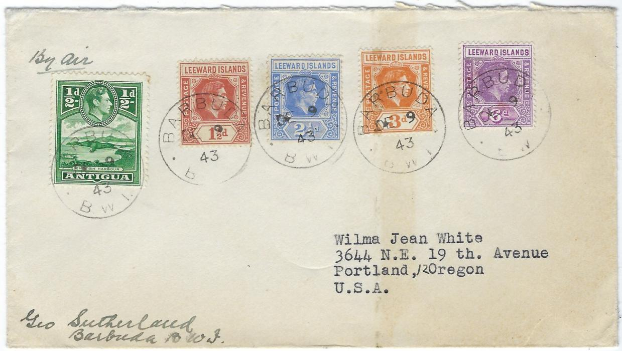 Antigua Barbuda 1943 (DE 9) cover to Portland, Oregon franked by five King George VI values (of Antigua and Leewards) each cancelled by cds, no backstamps.