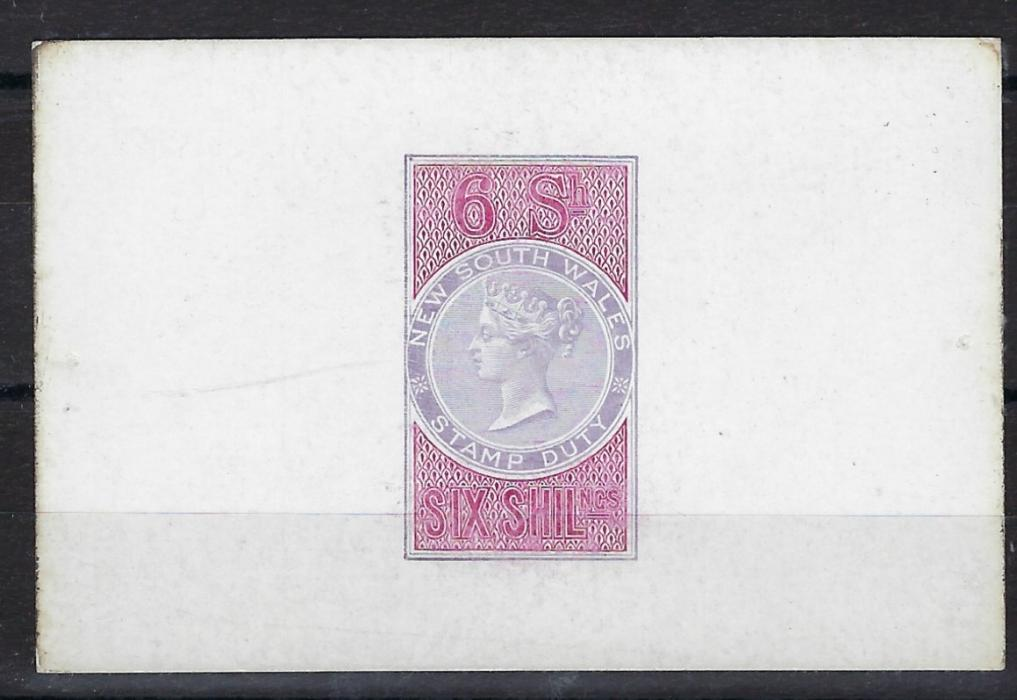 Australia New South Wales: 1893/94 Stamp Duty De La Rue proof for a 6s. value in lilac and carmine on white glazed card; fine and rare.