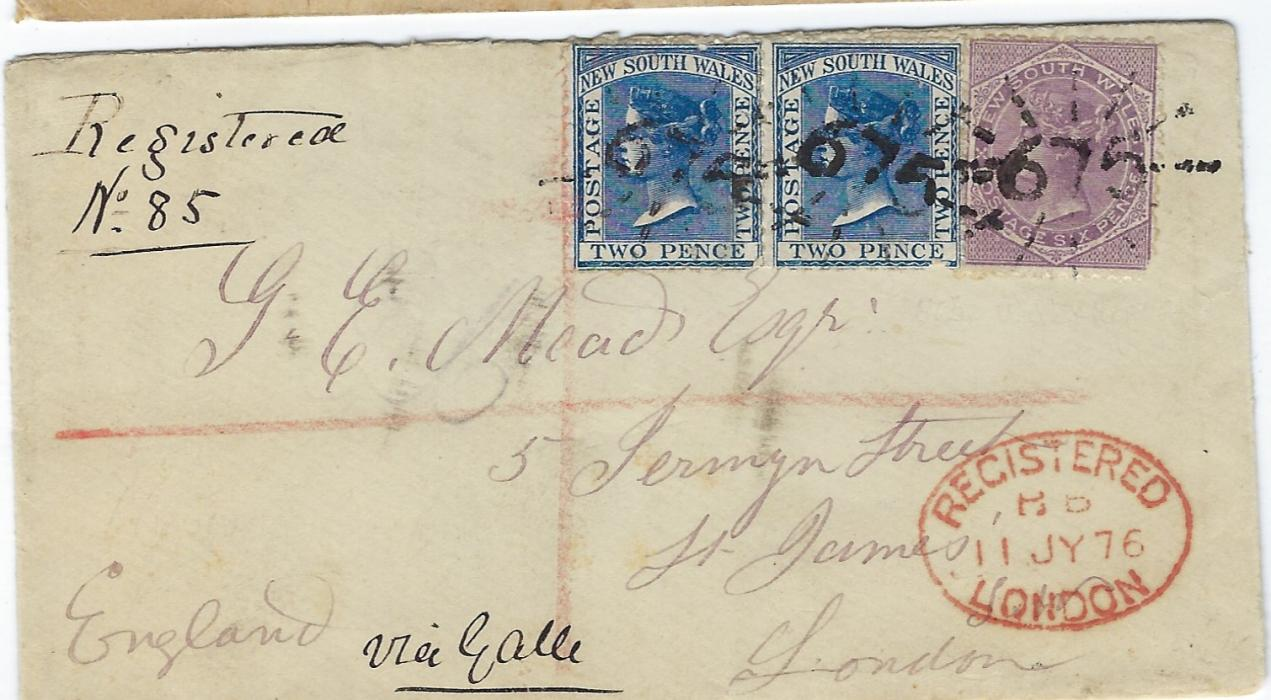 "Australia New South Wales: 1876 (MY 8) registered cover to London franked two 2d. and 6d. DLR issues tied by '675' numeral, manuscript registration and endorsed ""Via Galle""."