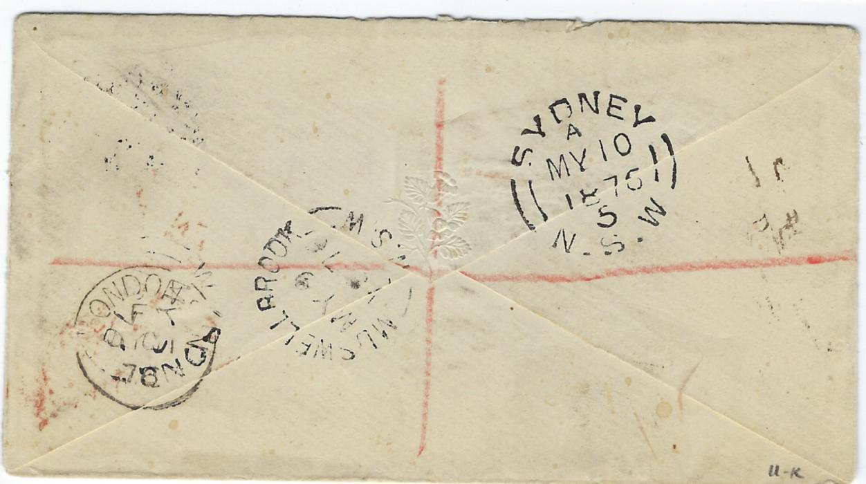 Australia New South Wales: 1896 (MY 18) registered 3d stationery envelope uprated with three 1/2d. plus 'Seven Pence Halfpenny' on 6d paying triple rate; good commercial usage of this surcharge stamp.