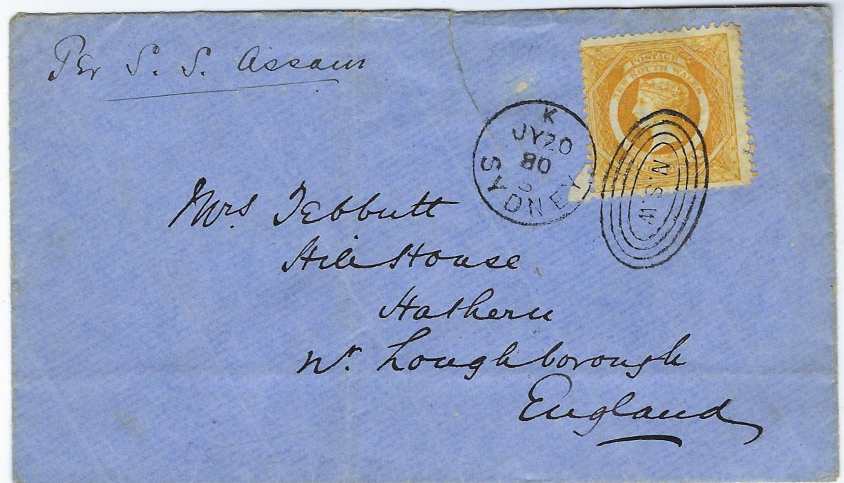 "Australia New South Wales: 1880 (JY 20) cover to England franked 8d. yellow-orange, perf 13, paying the ship letter rate, via Brindisi, from Sydney to England. Carried on the P&O Ship ""S.S.Assam""; light vertical filing crease to left."