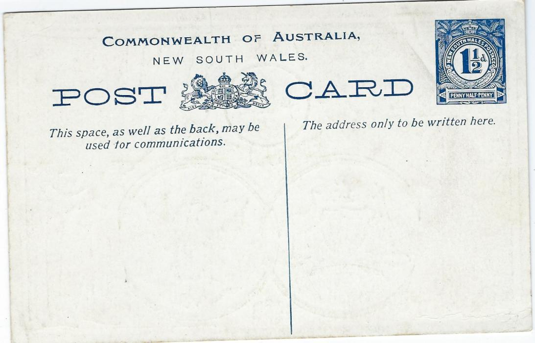 Australia New South Wales: 1908 'Australians Welcome Americans' 1 1/2d. picture postal stationery card very fine unused.