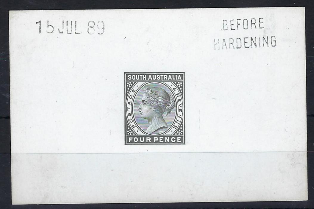Australia South: 1889 proof on thick glazed card for the Four Pence value, handstamped 15 JUL 89 and BEFORE/HARDENING; fine condition.