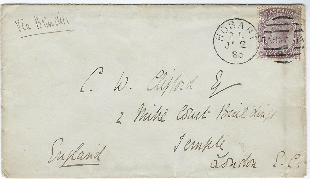 Australia Tasmania: 1883 (JA 2) cover to Temple, London bearing single franking 8d. dull purple-brown tied Hobart duplex, London arrival backstamp.