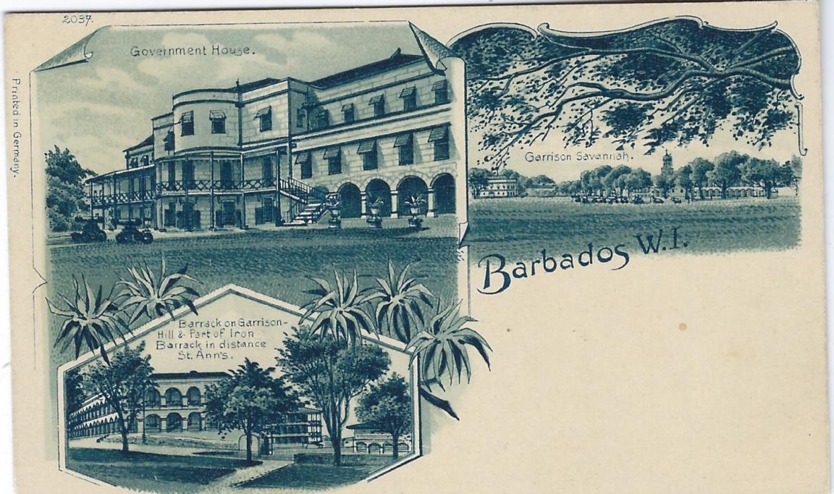 Barbados c.1900 triple image small sized postcard, printed in Germany, numbered 2037 depicting Barracks, Government House and Garrison Savannah; very fine unused.